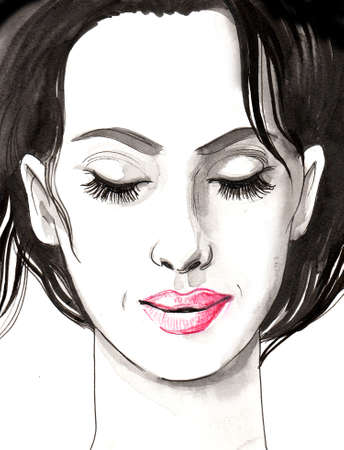 Beautiful woman face with a closed eyes. Ink and watercolor illustration