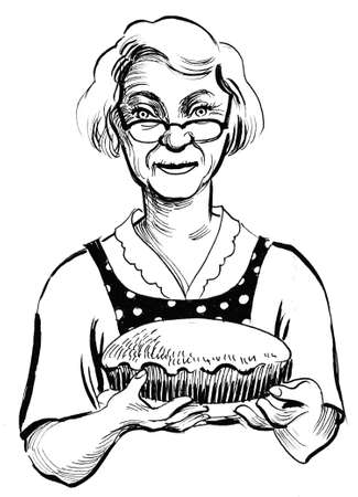 Granny with a pie. Ink black and white illustration