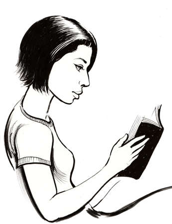 Girl reading a book. Ink black and white illustration Banco de Imagens