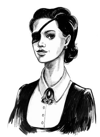 Pretty woman with an eye patch. Ink black and white illustration