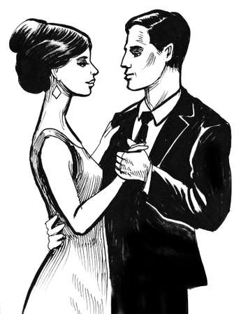 Dancing pair. Ink black and white illustration