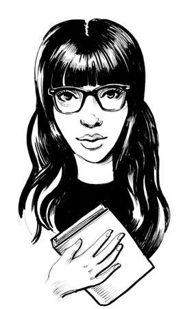 Girl in glasses holding a book. Ink black and white illustration