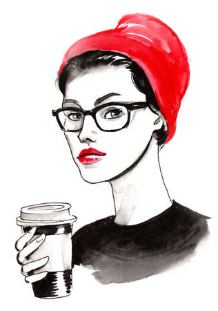 Pretty girl in red hat and glasses drinking a coffee. Ink and watercolor illustration