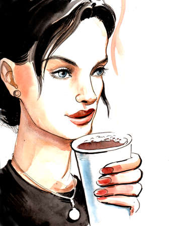 Beautiful brunette woman drinking a hot coffee from paper cup Reklamní fotografie