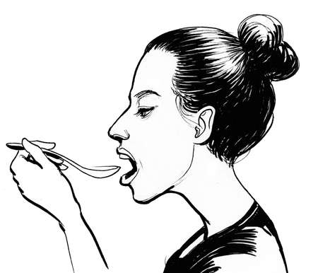 Pretty girl eating with a spoon. Ink black and white illustration