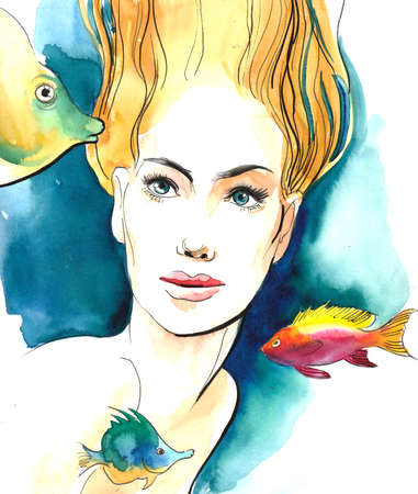Blonde beauty underwater with fishes. Watercolor illustration