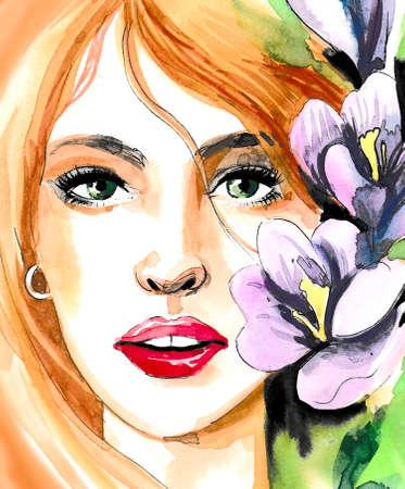Belle femme avec des fleurs violettes Banque d'images