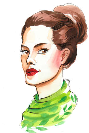 Beautiful woman in green scarf. Ink and watercolor illustration