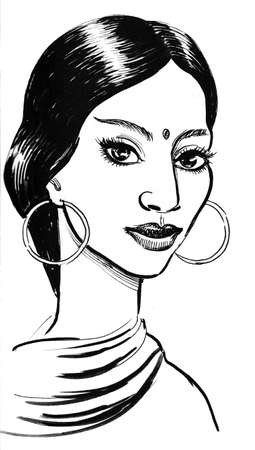 Beautiful Indian woman. Ink black and white illustration Stock Photo