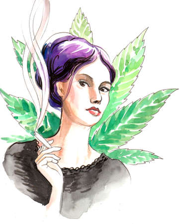 Pretty woman with a purple hair smoking marijuana joint. Ink and watercolor illustration Zdjęcie Seryjne