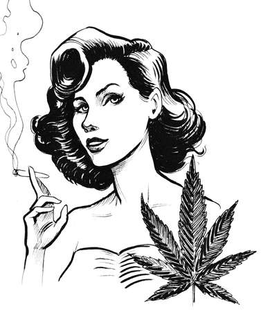 Pretty pin-up styled woman smoking a marijuana joint. Ink black and white illustration