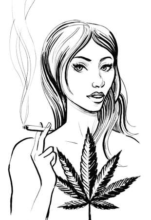 Pretty woman smoking a marijuana joint