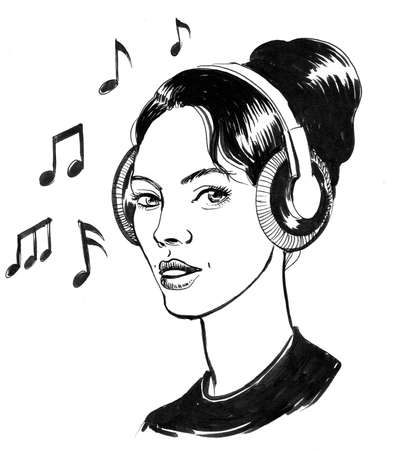 Pretty woman in headphones. ink black and white illustration