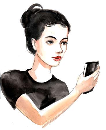 Pretty woman taking selfie Banco de Imagens