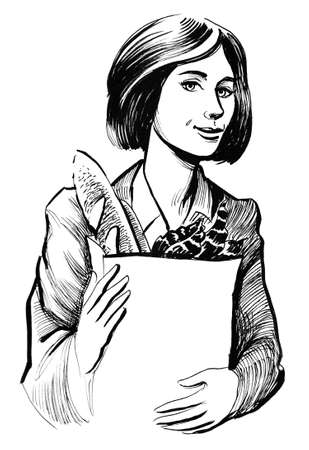 Pretty woman with a groceries. Ink black and white illustration