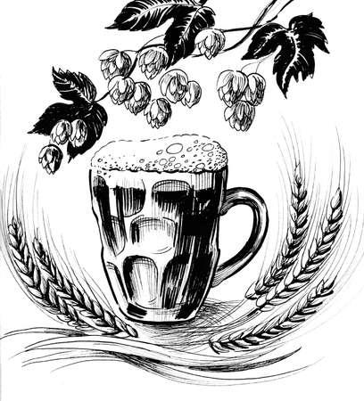 Beer mug, barley, and hop plant. Ink black and white illustration