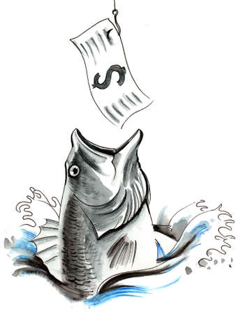 Fish biting a dollar note. Ink and watercolor illustration Stok Fotoğraf