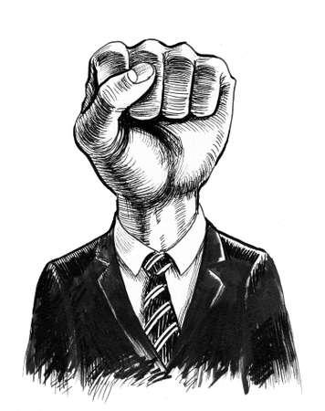 Fist in a suit. bureaucracy metaphor