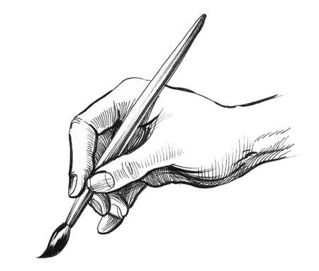 Hand holding a painting brush. Ink black and white illustration