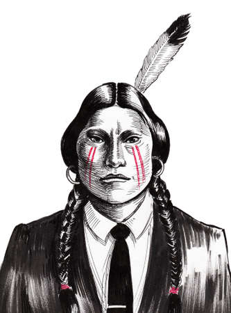 Indian warrior in a suit. Ink black and white illustration