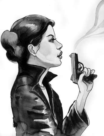 Lady with a smoking gun. Ink black and white illustration