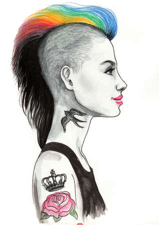 Punk girl. Ink and watercolor illustration