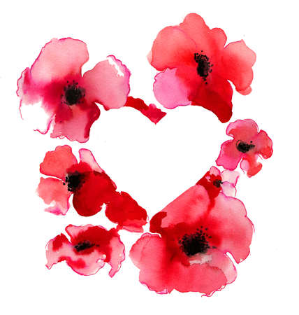 Heart shape and red poppies flowers Stockfoto