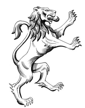 Heraldic lion. Ink black and white illustration