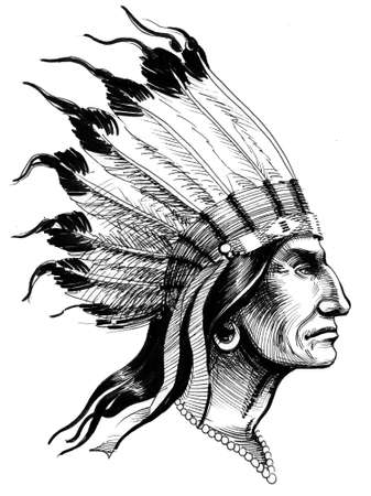Indian head. Ink black and white illustration