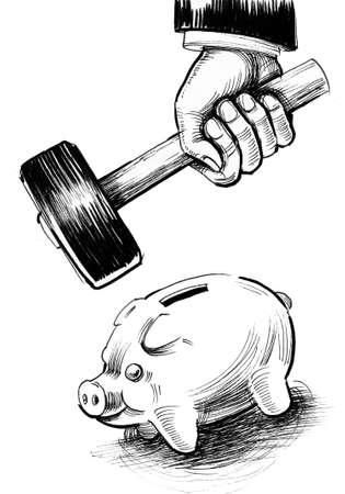 Hand smashing piggy bank with a hammer. Ink black and white drawing