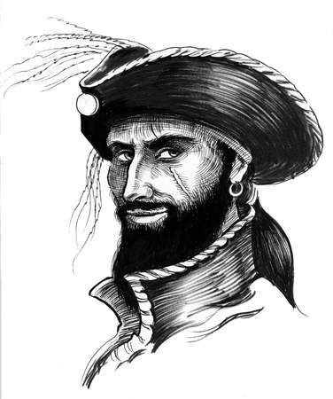 Pirate character. Ink black and white illustration