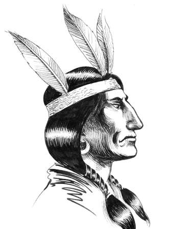 Native American warrior. Ink black and white illustration