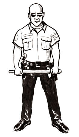 American cop. Ink black and white illustration