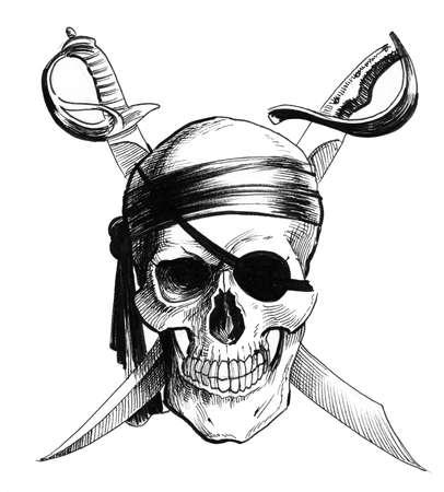 Calavera pirata y sables cruzados. Ilustración de tinta en blanco y negro