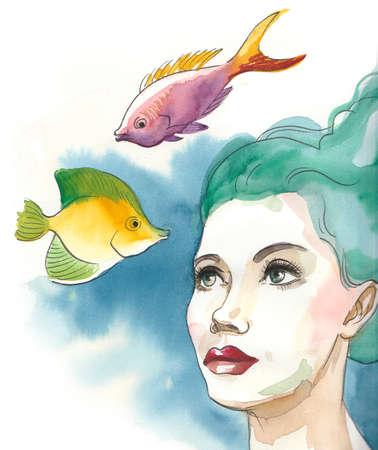Pretty woman underwater with fishes Standard-Bild - 105359189