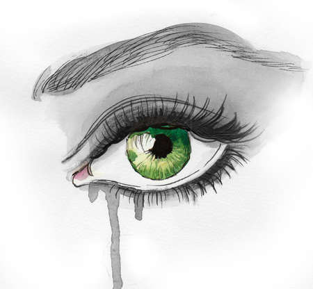 Beautiful crying green eye. Ink and  illustration Imagens