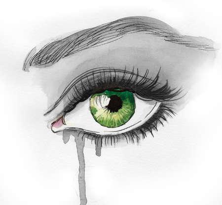 Hermoso ojo verde llorando. Tinta e ilustración Foto de archivo