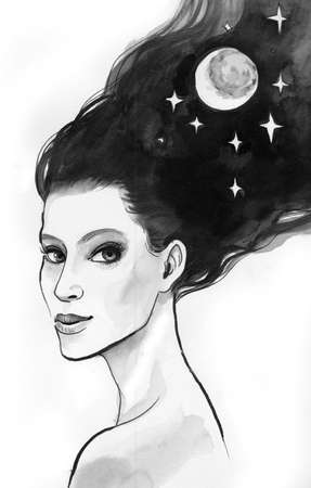 Pretty brunette woman with a moon and stars in her hair