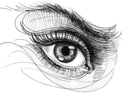 Beautiful female eye. Ink black and white illustration