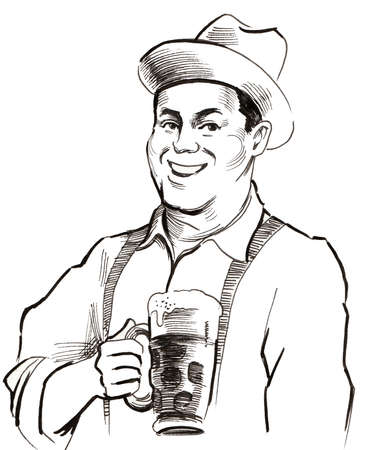 Happy man with a beer mug. Ink black and white illustration Stok Fotoğraf