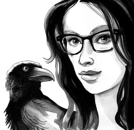 Girl in glasses with a raven on her shoulder. Ink and  illustration Banque d'images - 105720960