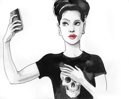 Girl taking selfie with a smartphone. Ink and  illustration