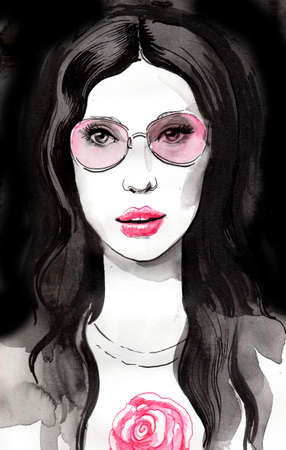 Pretty brunette woman in pink glasses. Ink and  illustration Stok Fotoğraf