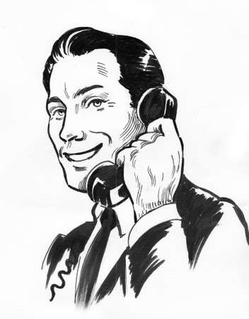Man talking on retro phone. Ink black and white illustration Zdjęcie Seryjne