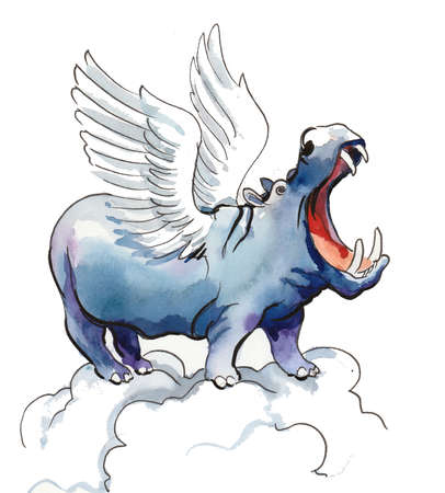 Hippopotamus with wings on the cloud. Ink and watercolor illustration