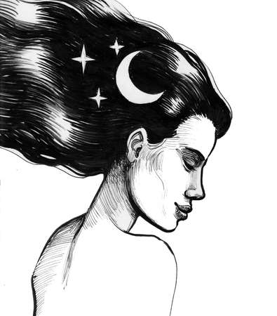 Beautiful woman with a moon and stars in her hair