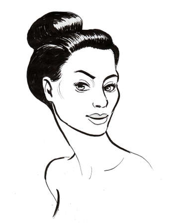 Pretty woman. Ink black and white drawing