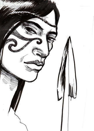 Maori warrior with a spear. Ink black and white drawing