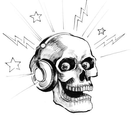 Human skull in headphones. Ink black and white illustration Фото со стока