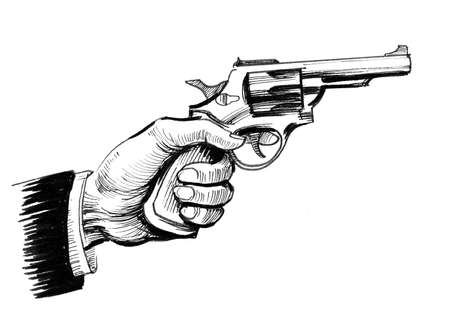 Hand with a revolver gun. Ink black and white illustration 写真素材